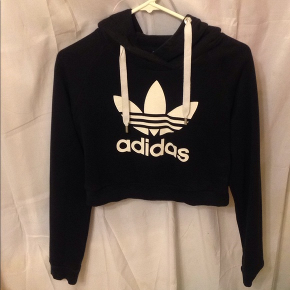 Adidas black and white sweater crop top
